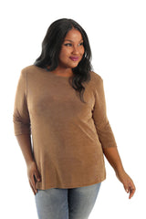 camel 3/4 sleeve top