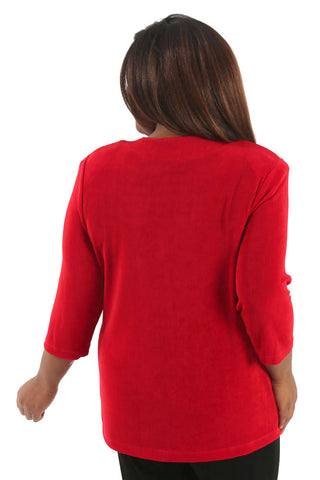 Vikki Vi Classic Red 3/4 Sleeve Cardigan