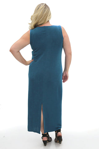 Vikki Vi Classic Cerulean Blue Jewel Neckline Maxi Dress