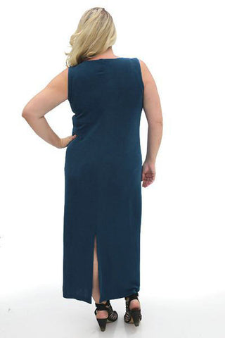 Vikki Vi Classic Marine Blue Jewel Neckline Maxi Dress