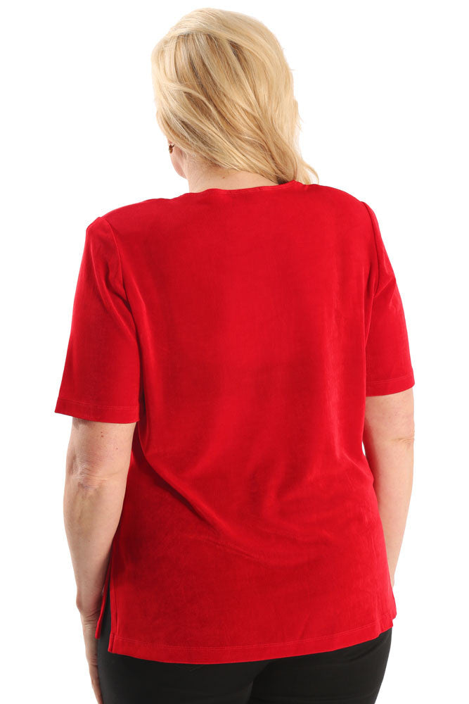 Vikki Vi Classic Red Short Sleeve Tunic