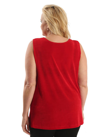 Vikki Vi Classic Red Sleeveless Tunic