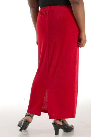 Vikki Vi Classic Red Straight Maxi Skirt