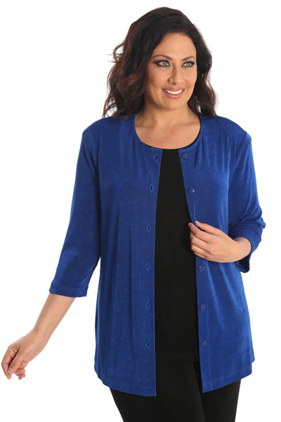 Vikki Vi Classic Royal Blue 3/4 Sleeve Cardigan