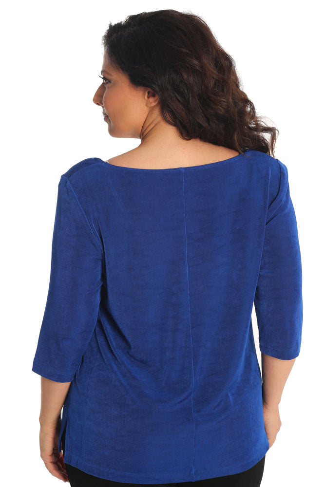 Vikki Vi Classic Royal Blue Deep Scoop Neck Top
