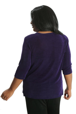 Vikki Vi Classic Royal Purple 3/4 Sleeve Top