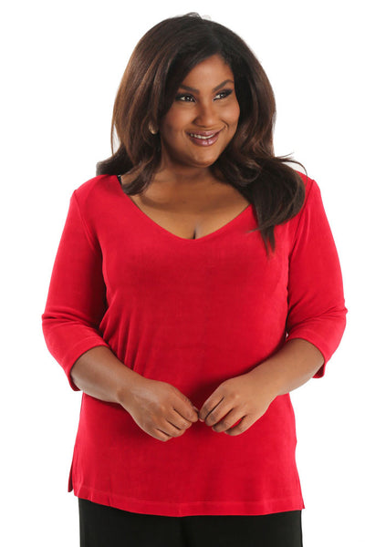 Vikki Vi Classic Red Deep Scoop Neck Top