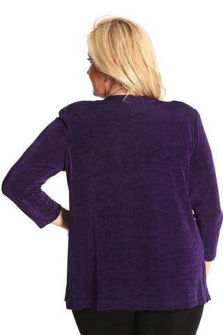 Vikki Vi Classic Royal Purple Boyfriend Cardigan