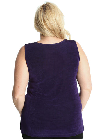 Vikki Vi Classic Royal Purple Sleeveless Tunic