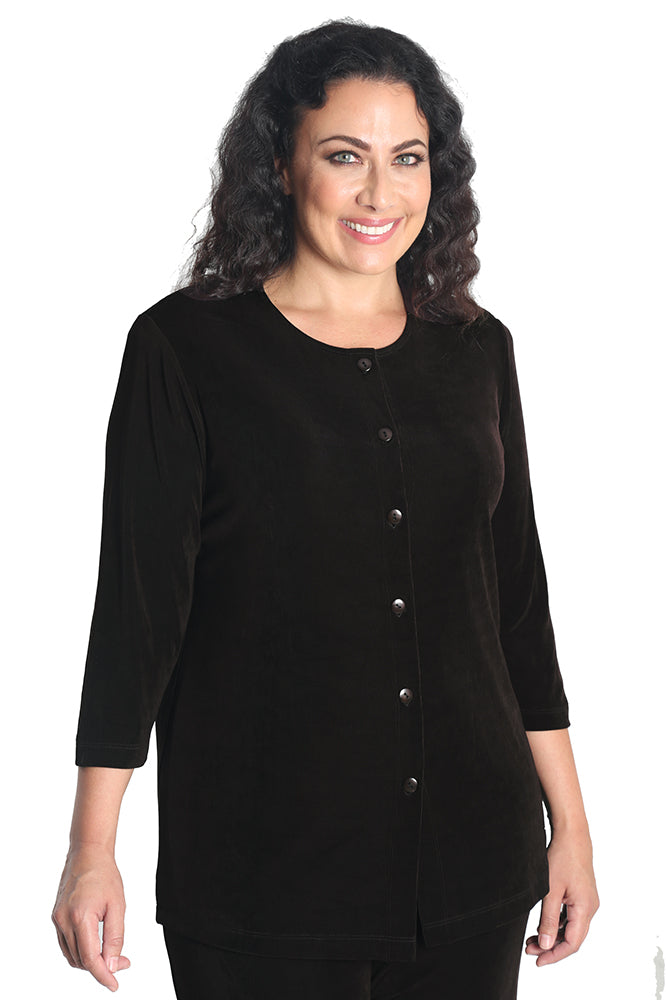 Vikki Vi Classic Coffee 3/4 Sleeve Cardigan