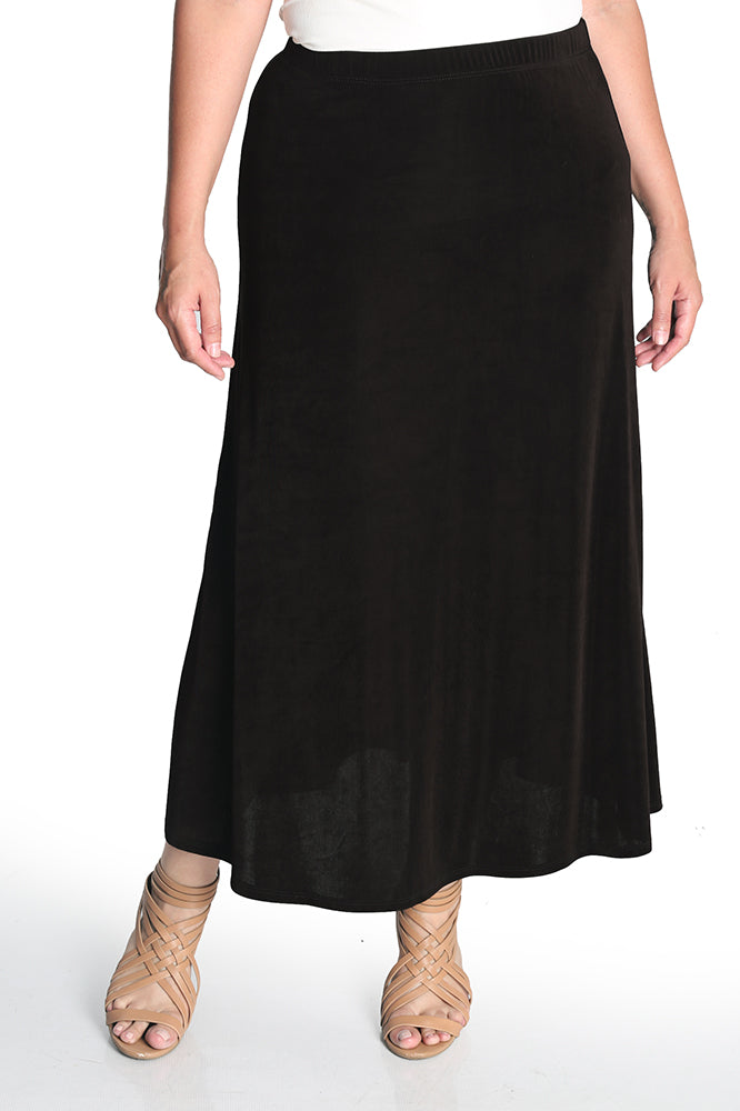 Vikki Vi Classic Coffee Long A-Line Maxi Skirt