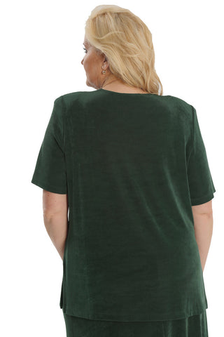 Vikki Vi Classic Deep Emerald Short Sleeve Tunic