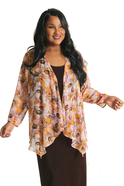 Vikki Vi Falling Leaf Sheer Swing Cardigan