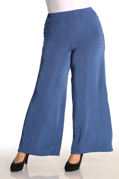 Vikki Vi Classic French Blue Wide Leg Pull on Pant