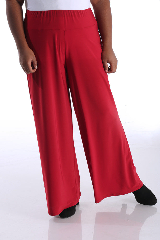 Vikki Vi Jersey Rumba Red Wide Leg Pull on Pant