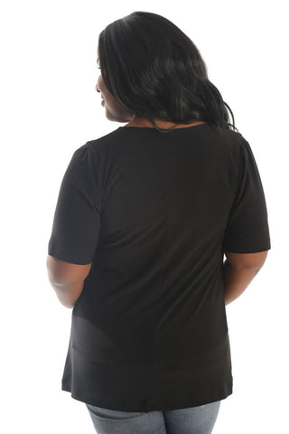 Vikki Vi Jersey Black Short Sleeve V-Neck Tunic