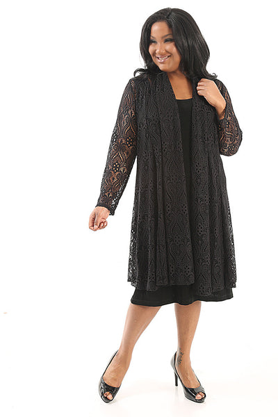 Vikki Vi Lace Gored Duster