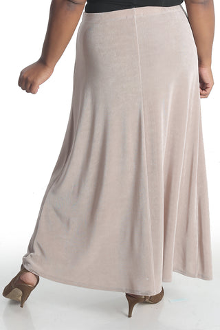 Vikki Vi Classic Light Taupe Long A-Line Maxi Skirt