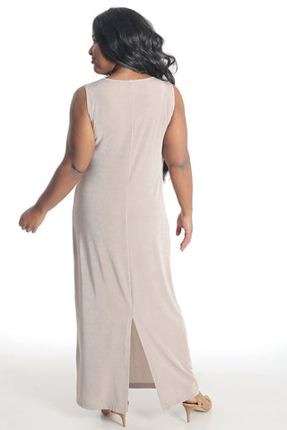 Vikki Vi Classic Light Taupe Jewel Neckline Maxi Dress