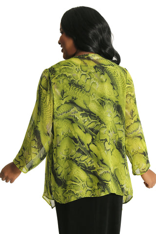 Vikki Vi Green Python Sheer Swing Cardigan