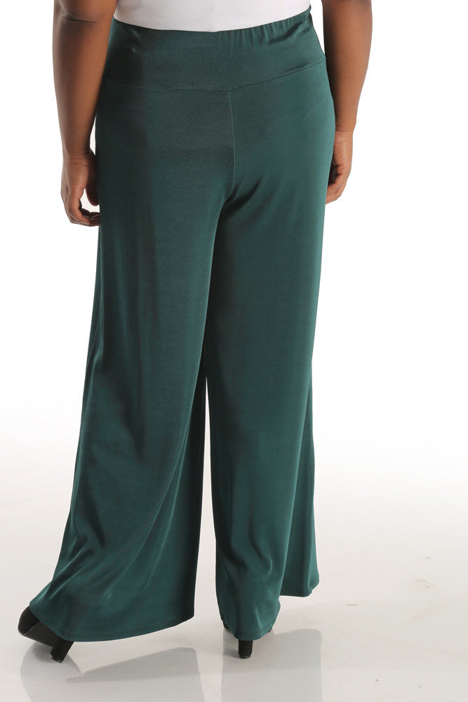 Vikki Vi Lite Classic Fir Green Wide Leg Pull on Pant