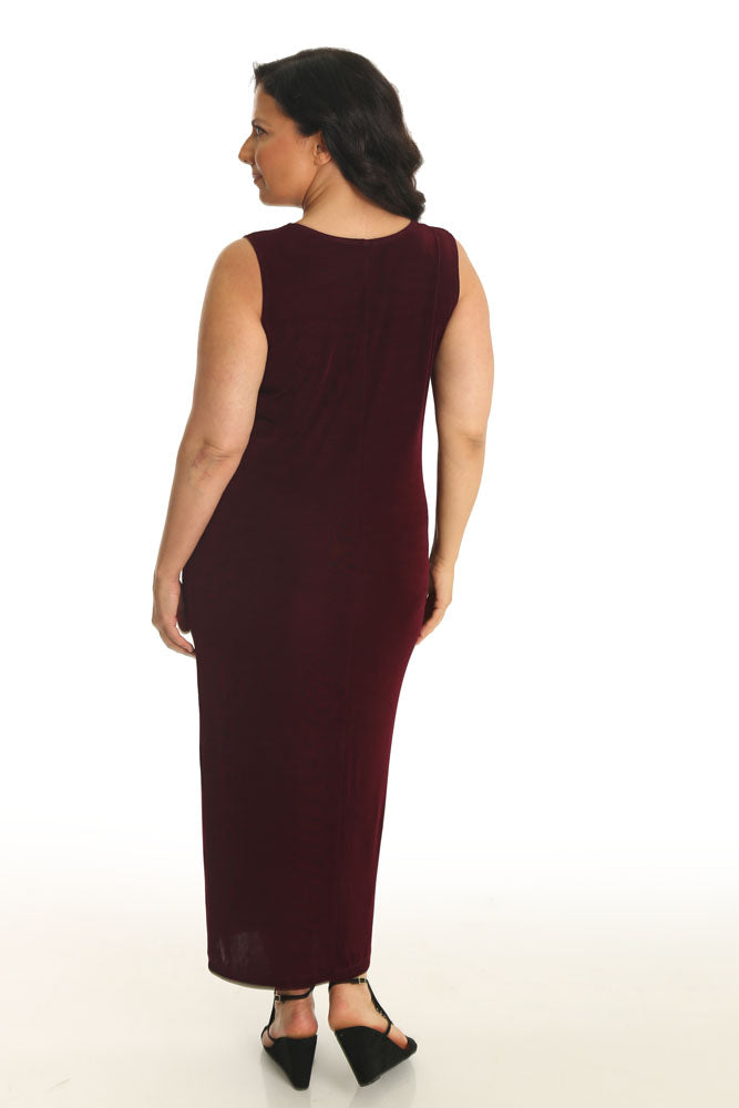Vikki Vi Classic Merlot Sleeveless Maxi Tank Dress