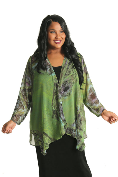 Vikki Vi Provence Sheer Swing Cardigan