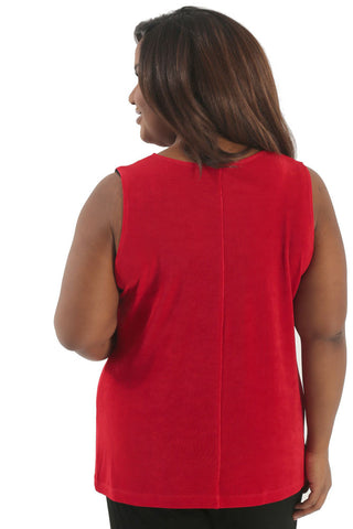 Vikki Vi Classic Red Sleeveless Shell