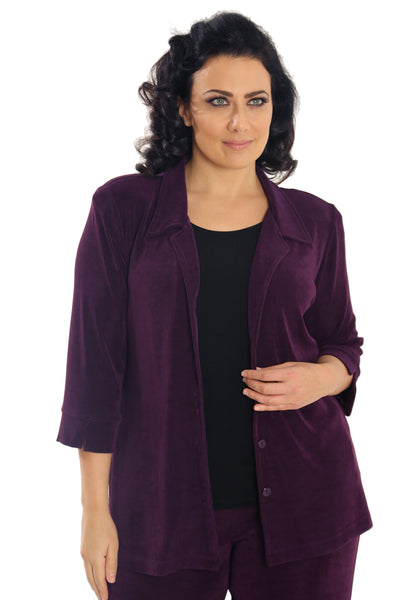 Vikki Vi Classic Sugar Plum Notch Collar Jacket