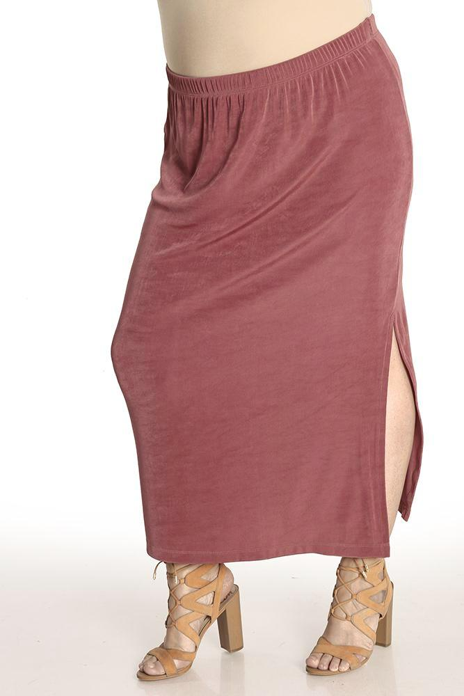 Vikki Vi Classic Tulip Side Slit Straight Maxi Skirt