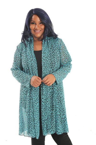 Vikki Vi Turquoise Animal Lace Gored Duster