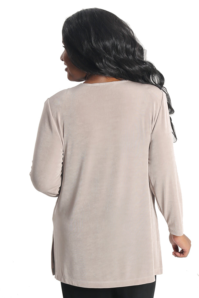 Vikki Vi Classic Light Taupe Long Sleeve Tunic