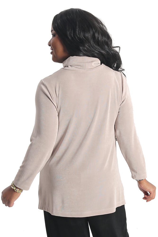 Vikki Vi Classic Light Taupe Long Sleeve Turtleneck Tunic