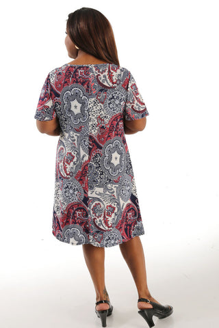 Vikki Vi Jersey Paisley & Lace T-Shirt Style Dress