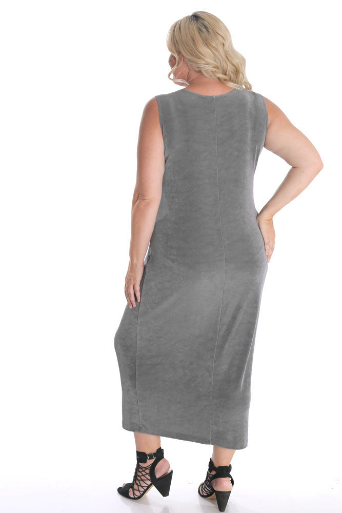 Vikki Vi Classic Cool Gray Sleeveless Maxi Tank Dress