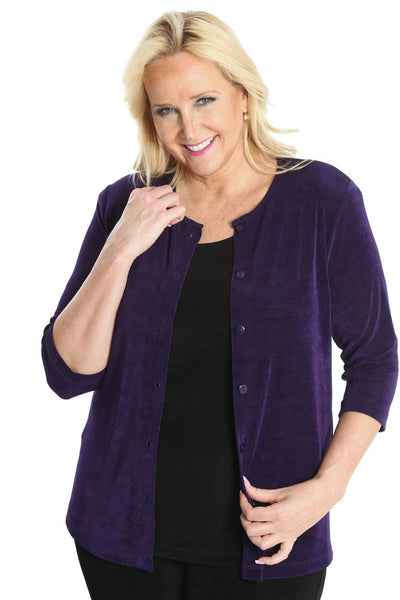 Vikki Vi Classic Royal Purple 3/4 Sleeve Cardigan