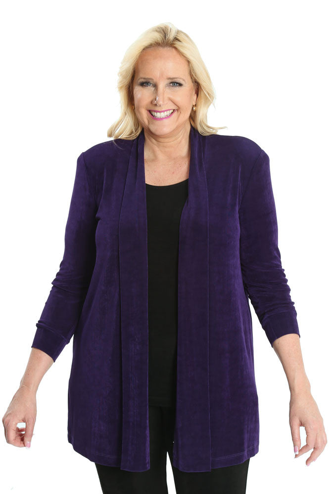Vikki Vi Classic Royal Purple Long Kimono Jacket