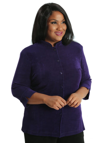 Vikki Vi Classic Royal Purple Mandarin Jacket