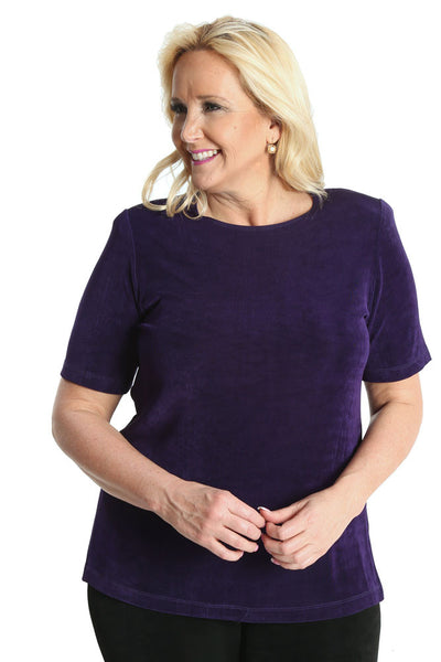 Vikki Vi Classic Royal Purple Short Sleeve Tunic
