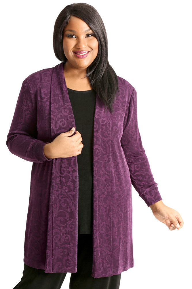 Vikki Vi Classic Frieda Embossed Long Kimono Jacket