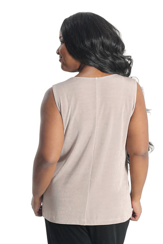 Vikki Vi Classic Light Taupe Sleeveless Shell