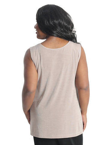 Vikki Vi Classic Light Taupe Long Shell Tunic