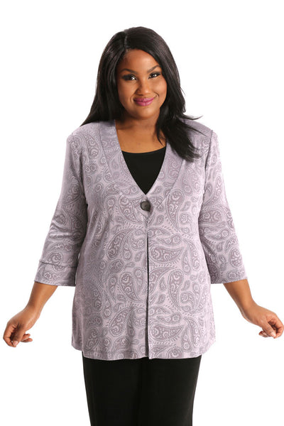 Vikki Vi Classic Embossed Perfect Paisley Shawl Collar Jacket