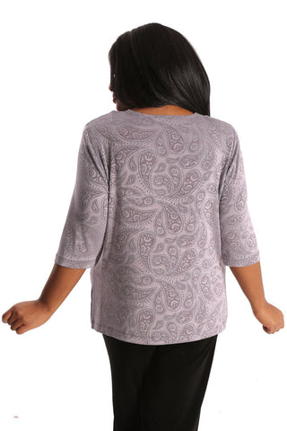 Vikki Vi Classic Embossed Perfect Paisley 3/4 Sleeve Top