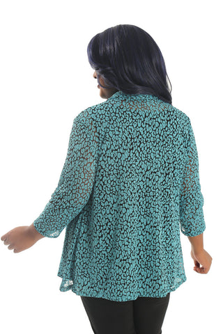 Vikki Vi Turquoise Animal Lace Fit and Flare Cardigan