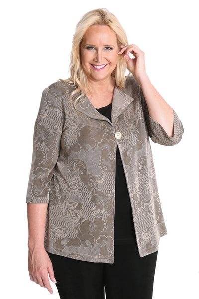 Vikki Vi Classic Embossed Tranquility Swing Jacket
