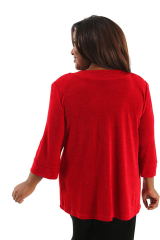 Vikki Vi Classic Red Shawl Collar Jacket