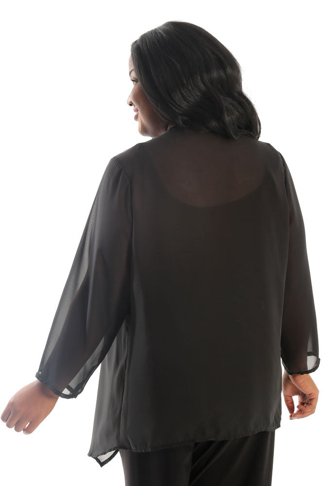 Vikki Vi Black Georgette Sheer Swing Cardigan