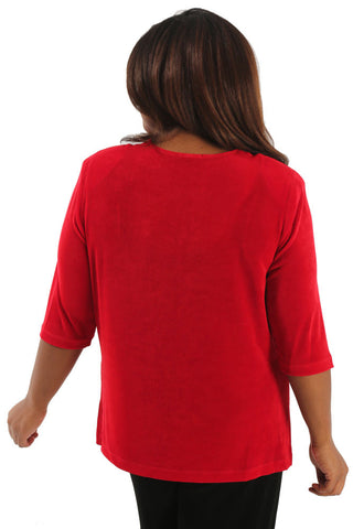 Vikki Vi Classic Red 3/4 Sleeve Top