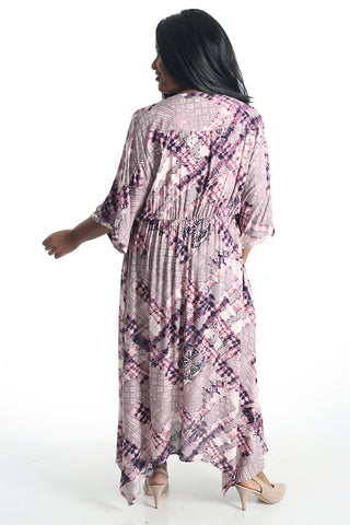 Oddi Vintage Orchid Handkerchief Maxi Dress